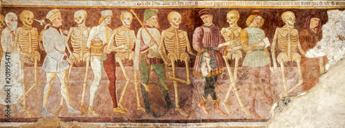 Fotografie, Obraz Clusone, Fresco, Dance of the Death