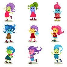 Cute Troll Characters Set, Hap...