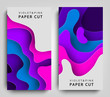 Vertical Banners Modern paper art cartoon abstract violet and blue water waves. Paper cut style, 3d effect imitation, space for text. Origami design template. Vector Illustration