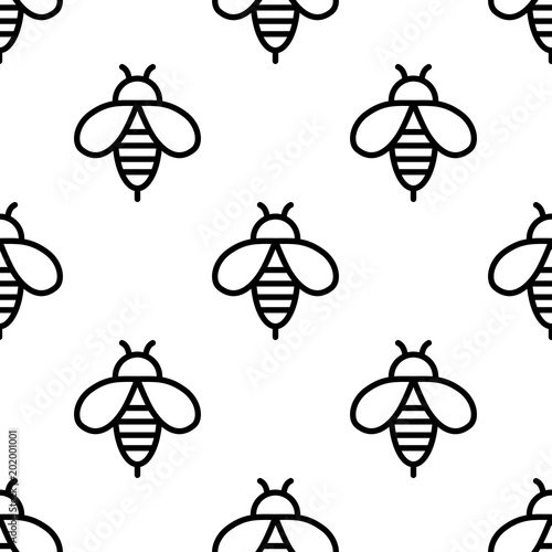 Cotton fabric Seamless bee icons pattern on white background