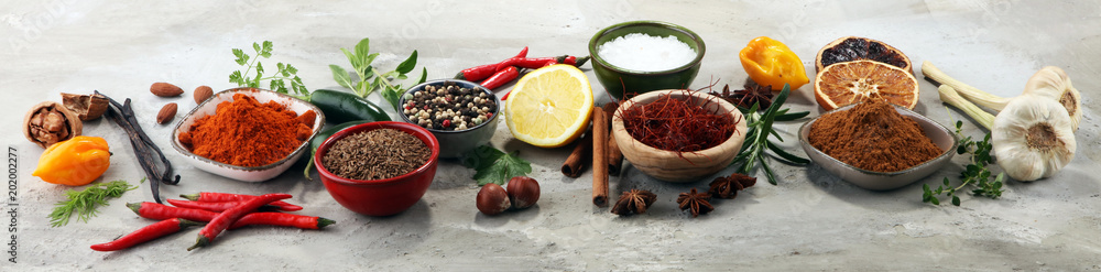 Fototapety, obrazy: Spices and herbs on table. Food and cuisine ingredients.