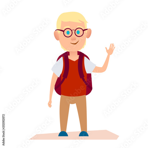 Glad Albino Boy with Glasses and Knapsack on Back Canvas Print