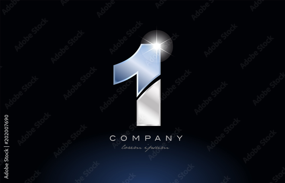 Fototapeta metal blue number 1 one logo company icon design