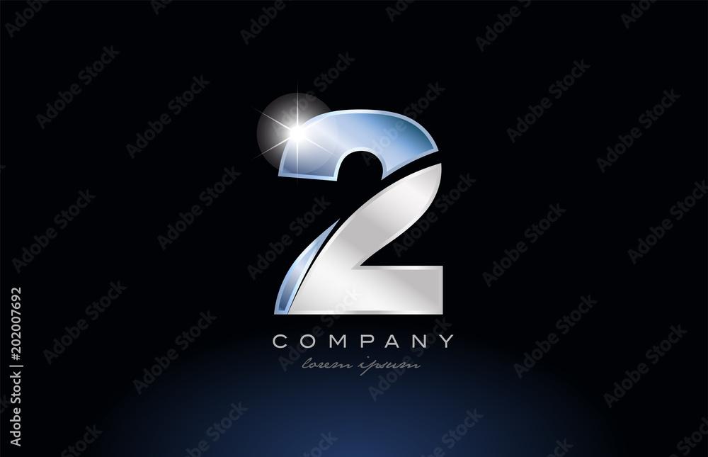 Fototapeta metal blue number 2 two logo company icon design