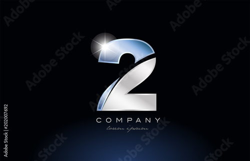 metal blue number 2 two logo company icon design