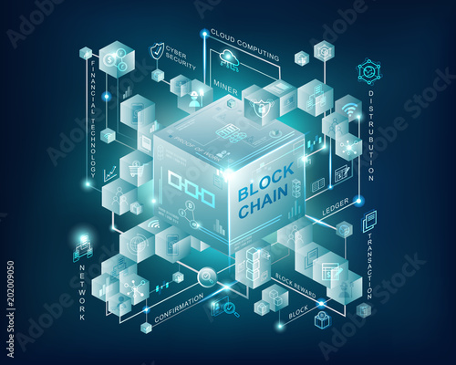 Blockchain epic blue with connected cube block link to chain background, fintech icon, proof of work , cloud computing, blockchain,  Ledger, mining pool Wallpaper Mural