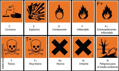 Fotografie, Obraz  Señales de riesgos y peligros