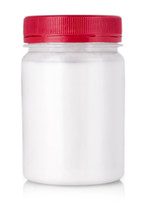 White Jar With Red Cap Without Label On A White Background.
