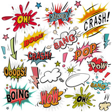 Comic Sound Effect Set. Bubble Speech In Pop Art Style. Retro Comical Book Cartoon Expression With Text. Vector Illustration.