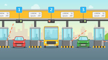 Cartoon Pay Road Toll Card Poster. Vector