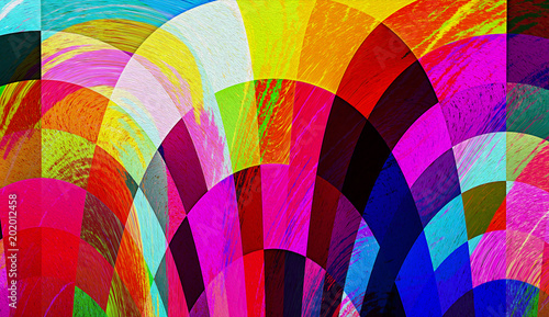 Fototapety, obrazy: Abstract colorful mosaic graphic paint texture background