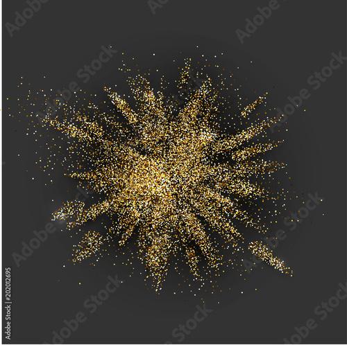 Fotografia Golden glitter explosion on grey.