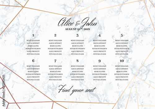 Cuadros en Lienzo  Wedding Seating Chart Poster Template