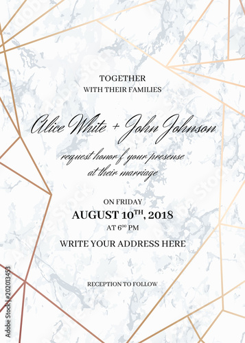 Wedding Invitation Card Template Of Geometric Design Invitation To
