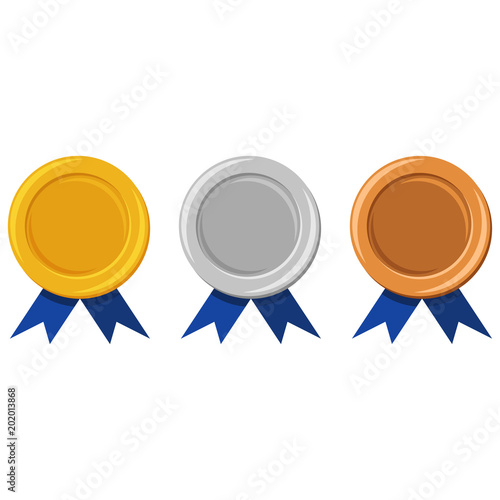template of gold silver and bronze medals with a blue ribbon