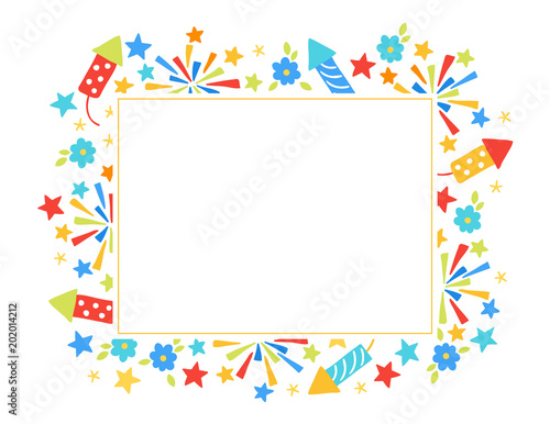 Fotografija  Festa Junina greeting card with petard, flowers, firework, leaves, stars