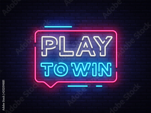 Fotografiet  Play to win neon sign