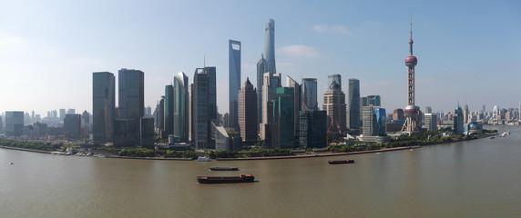 Aerial photography at Shanghai Skyline of panorama
