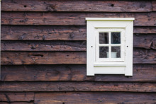 Old White Window On Wooden Cottage
