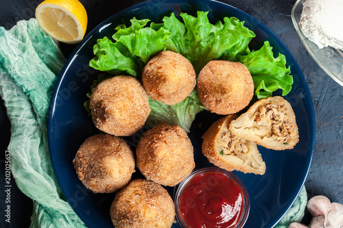 Fotografie, Tablou  Coxinha. Fried croquette with chicken