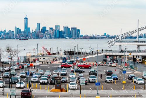 Keuken foto achterwand New York New York City, Skyline view from hudson, cloudy day