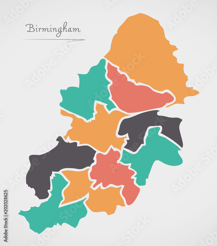 Photo Birmingham Map with boroughs and modern round shapes