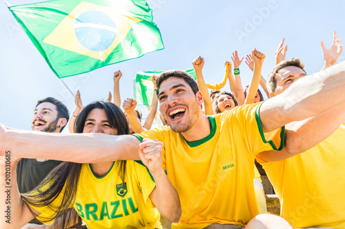 Fotografie, Obraz  Brazilian supporters celebrating at stadium with flags