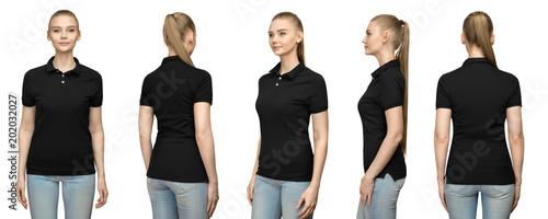 Fotografie, Obraz  Set promo pose girl in blank black polo shirt mockup design for print and concep