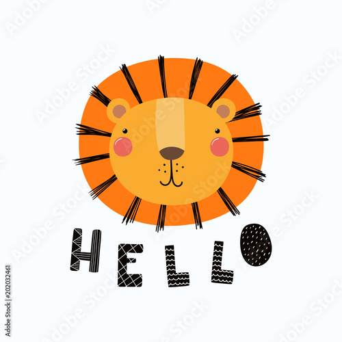 Photo Stands Illustrations Hand drawn vector illustration of a cute funny lion face, with lettering quote Hello. Isolated objects. Scandinavian style flat design. Concept for children print.