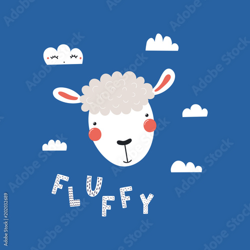 Printed kitchen splashbacks Illustrations Hand drawn vector illustration of a cute funny sheep face, with clouds, lettering quote Fluffy. Isolated objects. Scandinavian style flat design. Concept for children print.