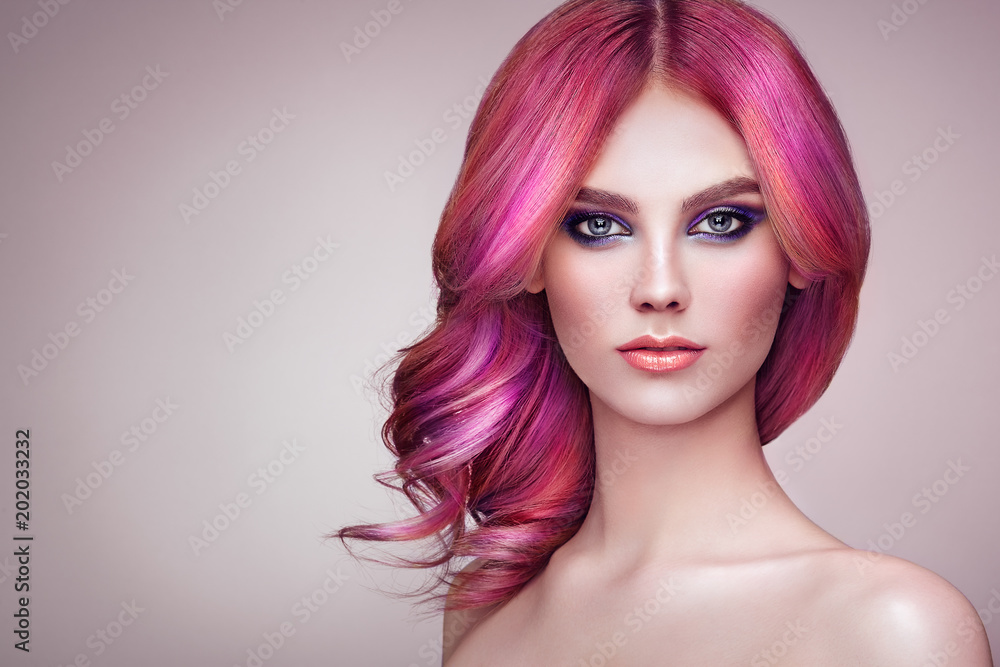 Fototapeta Beauty Fashion Model Girl with Colorful Dyed Hair. Girl with perfect Makeup and Hairstyle. Model with perfect Healthy Dyed Hair. Rainbow Hairstyles