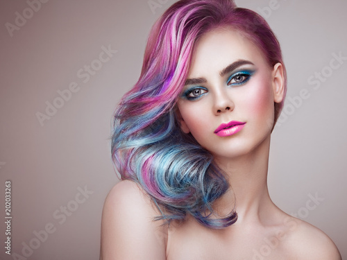 Foto auf Leinwand Friseur Beauty Fashion Model Girl with Colorful Dyed Hair. Girl with perfect Makeup and Hairstyle. Model with perfect Healthy Dyed Hair. Rainbow Hairstyles