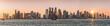 canvas print picture - Panoramablick auf die Bucht von Doha mit der modernen Skyline bei Sonnenuntergang, Katar
