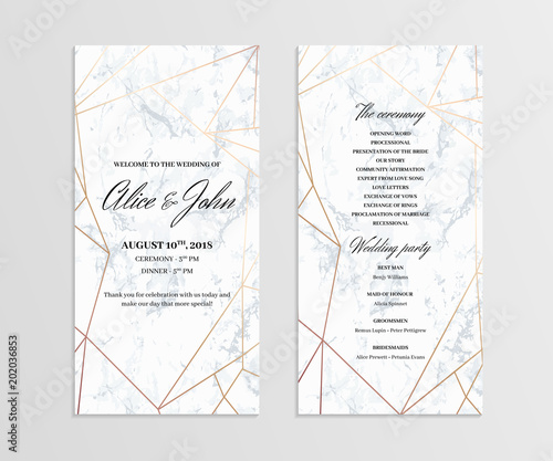 double sided wedding program template geometric design in rose gold