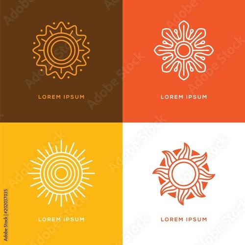 Four abstract linear sun logo.