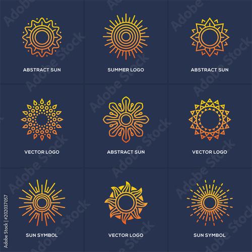Sun logo set isolated on blue background. Fototapete