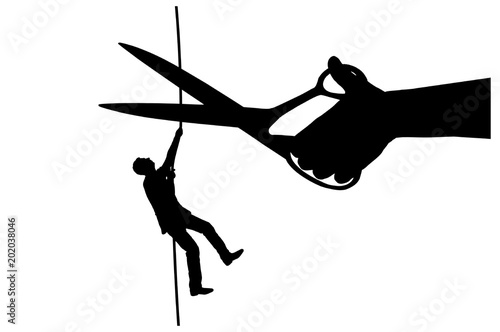 Vászonkép Silhouette vector of a businessman climbs on a tightrope and a hand with scissor