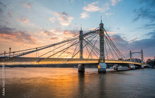 Foto auf Gartenposter Bridges Albert Bridge and beautiful sunset over the Thames, London, England UK