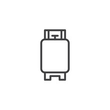 Gas Cylinder Outline Icon. Linear Style Sign For Mobile Concept And Web Design. Gas Tank Simple Line Vector Icon. Symbol, Logo Illustration. Pixel Perfect Vector Graphics