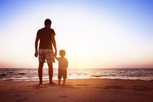 Father And Son Beach Sunset Ho...