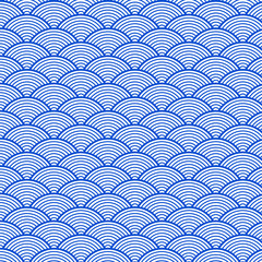Fototapeta Japoński Japanese blue sea wave pattern