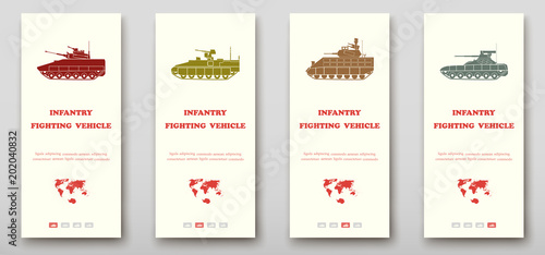 Fotografía  Infantry fighting vehicles leaflet cover presentation abstract, layout size fold