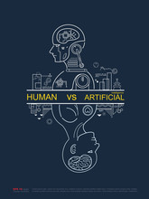 Robot Vs Human. AI Artificial Intelligence And Human Intelligence Concept Business Disruptive Illustration. Vector Line Design To Poster.