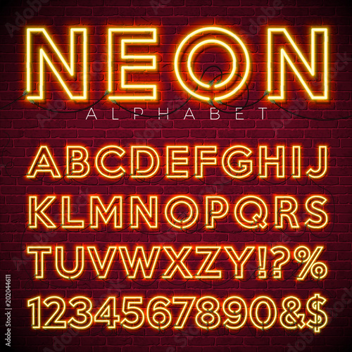 Bright Neon Alphabet on dark brick wall background. Vector number and symbol with shiny glow effect.