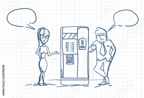 Papiers peints Eau Sketch Business Man And Woman Talking Drinking Coffee Standing At Vending Machine Doodle Over Squared Paper Background Vector Illustration
