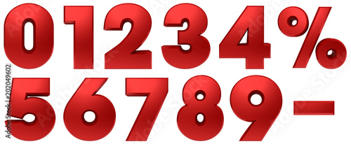 percent sign 3d red percentage symbol set numbers discount savings