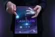 Business, Technology, Internet and network concept. Young businessman working on a virtual screen of the future and sees the inscription: Cash flow