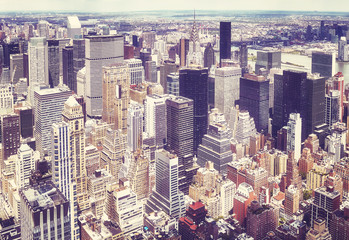 FototapetaVintage stylized aerial view of the Manhattan, New York City, USA.