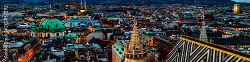 Aerial view of the night Vienna, Austria with illuminated buildings and Stephansdom cathedral