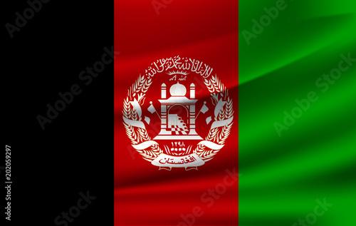 Afganistan waving flag vector icon. Canvas Print